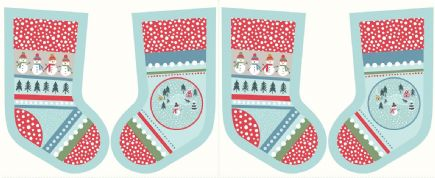 Lewis & Irene - Snow Day - 5998 - Stocking Panel in Aqua - C39.1 - Cotton Fabric